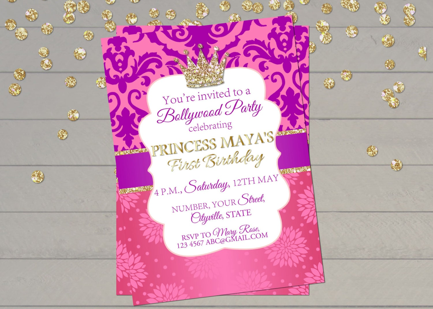 Bollywood Invitation Indian Princess Birthday Invitation - First birthday invitations girl india