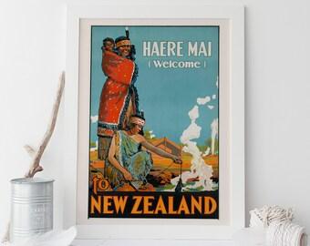 New Zealand Travel Poster Vintage Art Deco Poster New Zealand Print New Zealand Wall Art Tourism Artwork Retro Poster Ikea Ribba Size