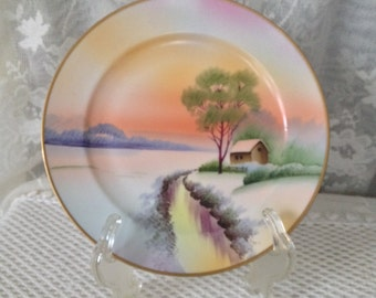 """Meito China Plate, Hand Painted Winter Stream Scene, Red Sunset on Horizon, Vintage Japan Cabinet Plate, 7 1/2"""""""