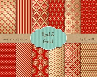 """Red and Gold Christmas Digital Paper: """"Red and Gold Patterns """" metallic gold digital papers for invitations, scrapbooking, cardmaking"""
