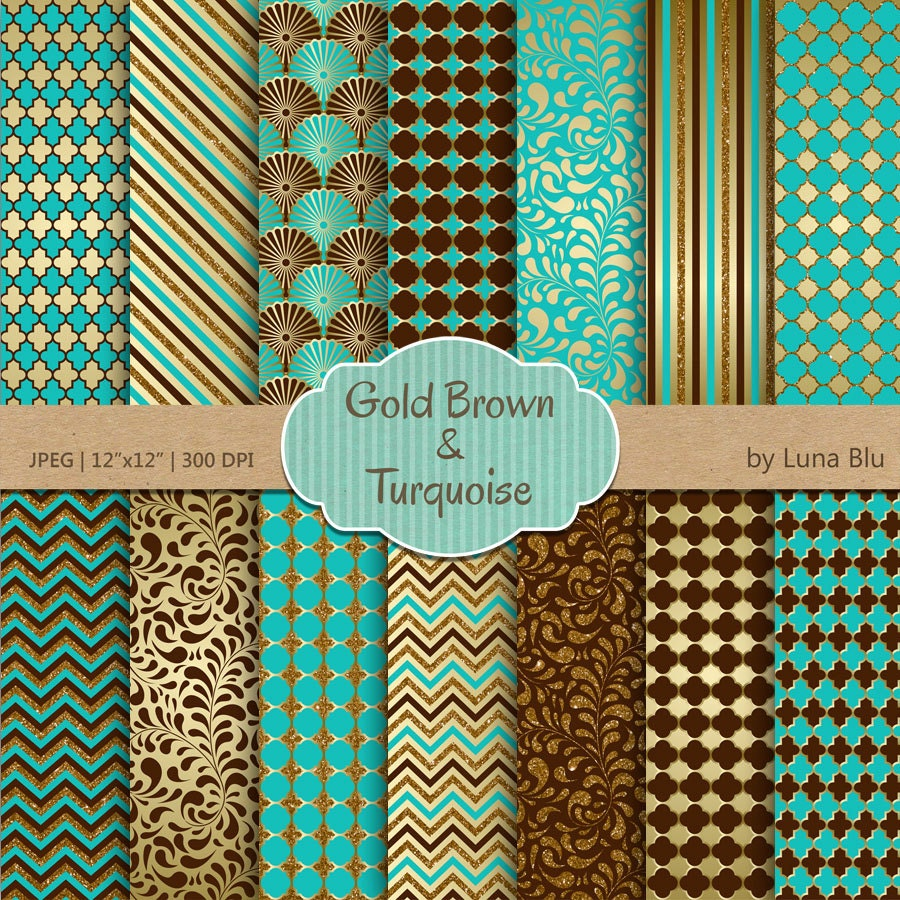 turquoise brown and gold digital paper  turquoise brown