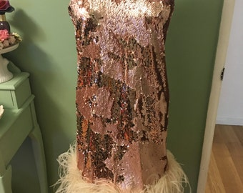 1920s Pink Dress The Great Gatsby with Double Sequins and Faux Fur
