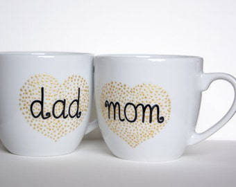 Hand Painted Mugs for Parents Gratitude Gift for Mom and Dad Custom Gift for Parents' Day Mothers Day Gift Fathers Day Gift for New Parents