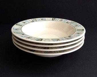 Mid Century Atomic Taylorstone Bowls, Set of 4, Taylor Smith Taylor, Cathay, Soup Bowls, Salad Bowls