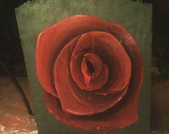 rose art painting acrylic on wood