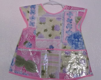 Toddler Plastic Apron with Flowers - Size 3 only