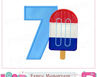 Ice cream  Number 7 applique,4th of July,Birthday Number 7 applique,7,My 7th birthday,Independence Day,Ice cream design,Ice cream applique.