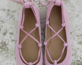 aelia/Lace up/Pointed toe flats / baby pink /greek desinger/handmade