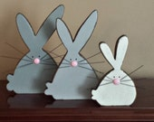 Country Primitive Bunnies -  Set of Three - Solid Wood - Shelf Sitter or Wall Hanging - OFG, FAAP, HAFAIR, Team HaHa