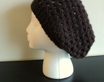 Brown Crocheted Slouch Beret