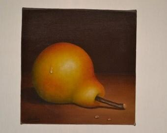 Original 6x6' acrylic pear painting, realistic still life, fruit painting, fruit miniature, kitchen painting, kitchen miniature, fruit art
