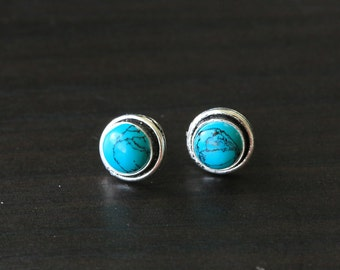 Cute Turquoise Studs, Gemstome Stud Earrings, Stud, Turquoise, Post Earring, Bali Silver, INdian Silver