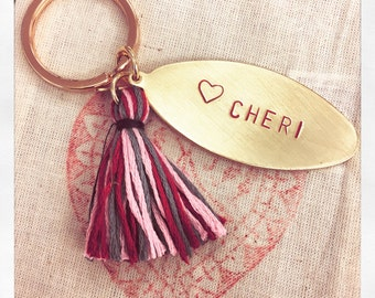 your personal text | hand stamped brass tag with a colorful tassel | keychain | good luck charm