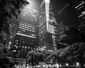 Black and White, New York City Photography, Bryant Park, Manhattan at Night, Fine Art Photography, NYC Pictures