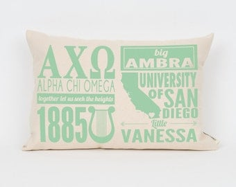 alpha chi omega custom sorority facts pillow greek letter pillow big little gift sorority letters sorority gift dorm decor