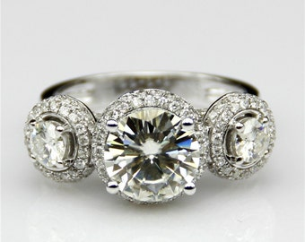 2.5ct Esdomera Round Moissanite 3-Stones Halo 14k White Gold Engagament Ring (CFR0181-ESMS2.5CT)
