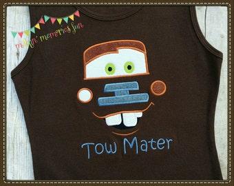 Tow Mater, Disney Cars movie tank top, Disney shirt, brown tank