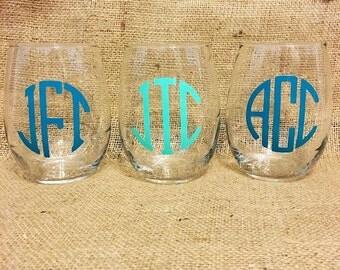 Stemless Wineglass/Custom/Monogrammed