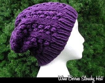 Wine Berries Slouchy Hat Knitting Pattern