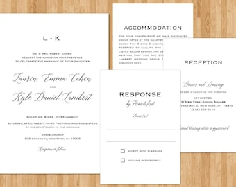 Traditional Wedding Invitations Suite Set Wedding Invitation Set Wedding Invitations Modern Simple Wedding Invitations Digital Printable
