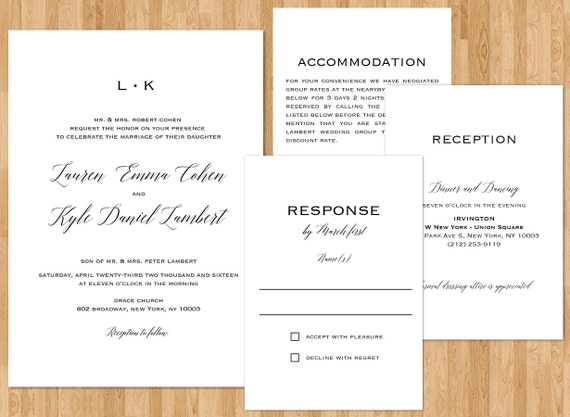 Traditional Wedding Invitations Suite Set Wedding Invitation