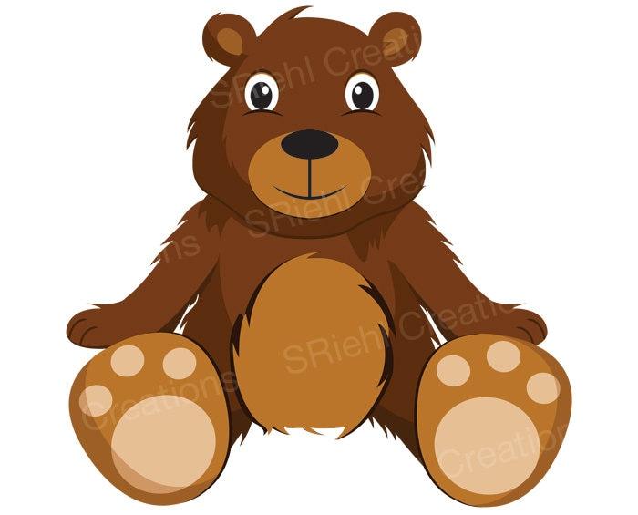 Teddy Bear Clipart | Cute Bear Clip Art Digital Download ...