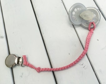 Pink Poppy Leather Braided Binky Clip -(modern pacifier clip, girl, faux suede, simple, natural) valentines day