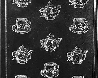 Bite/Size Tea Pots And Tea Cups Chocolate Candy Mold with Exclusive FlavorTools Copyrighted Chocolate Molding Instructions D100