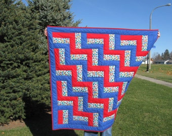 Rail Fence Quilt in Red and Blue