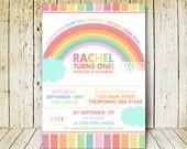 Rainbow birthday invitation, Pastel rainbow party invites, Custom colorful over the rainbow digital printables, 1st birthday or any ages