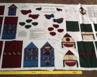 Backyard Friends And Neighbors  Stuffed Birds And Birdhouses Fabric Panel
