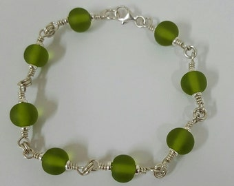 Handmade Lampwork and Silver Bracelet