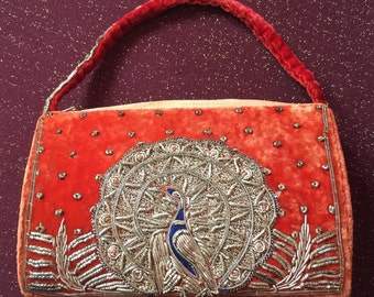 Theatre bag bag antique vintage embroidery Peacock
