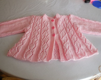SMALL coat baby girl - 3-6 month knitted hand, nice point diamond - front back and sleeves