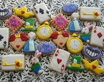 Mini Sugar Cookies inspired by Alice in Wonderland - listing for 1 dozen
