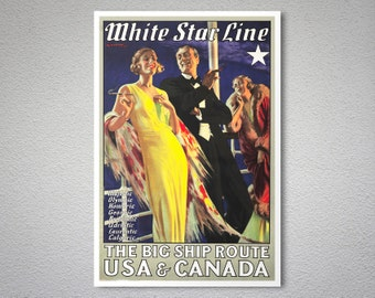 White Star Line, The Big Ship Route USA Canada Travel Poster, 1931 - Poster Print, Sticker or Canvas Print