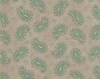Paisley Fabric, Grey Fabric,  Blue Fabric, Cotton Fabric, Fabric by the Yard, quilt fabric, craft fabric