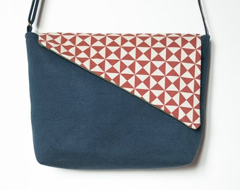 Crossbody fabric bag, Blue bag, shoulder fabric bag, adjustable bag, handmade bag, filobianco, bag with flap, handmade fabric purse