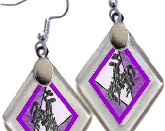 "Earrings ""Wyoming Bucking Horse & Rider(TM) in Purple"" from rescued, repurposed window glass~Licensed Product"
