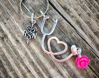 RN stethoscope pink rose keychain