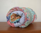 Vintage Handmade Cotton Quilt Blanket. Flower Pattern Fabric. Floral Antique Rag. Single Bed Cotton Quilt Throw. Children Girl Bedroom Decor