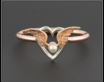 10k Gold Winged Heart Ring   Antique Stick Pin Ring   Rose Gold & Silver Ring   Winged Heart Ring   Wing Ring   Pilot Ring