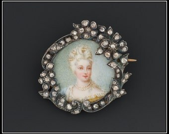 Antique French Portrait Miniature Brooch, Silver Topped 18k Gold & Rose Cut Diamond Pin
