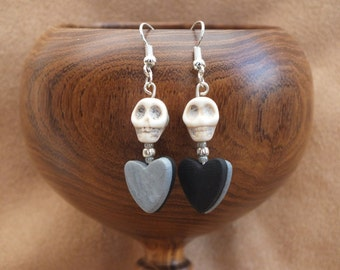 SALE!! Black and silver heart earrings, skull earrings, love earrings