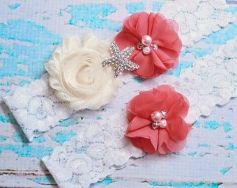 Wedding Garter, Coral Cream Garter Set, Beach Wedding Garter, Lace Garter, Keepsake Garter, Toss Garter, Beach Garter