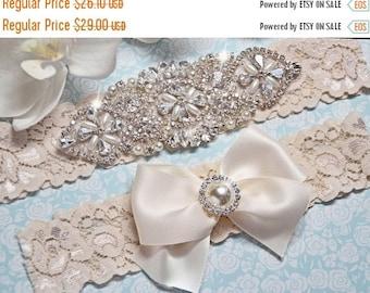 Wedding Garter Set – Ivory Lace Bridal Garter with Crystals – Vintage Inspired Keepsake and Toss Garters – Rhinestone Garter