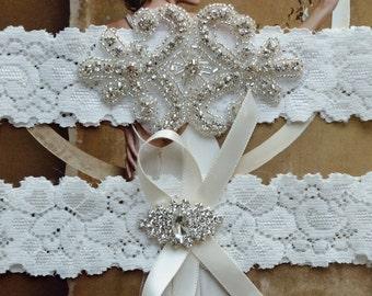 Wedding Garter Set, Crystal Rhinestone Garter Set on a White Lace, Garter Set with Pearl & Rhinestone