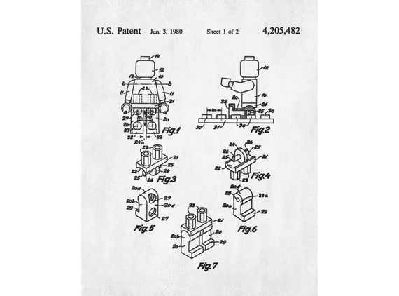 lego figure patent drawing print lego minifigure blueprint art