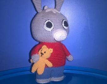 Trotro with Teddy bear, amigurumi toy.