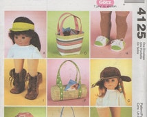"Accessories for 18""  Doll  Sewing Pattern  Visor, Hats, Shoes, Tote Bags and Boots  McCalls 4125, Uncut"